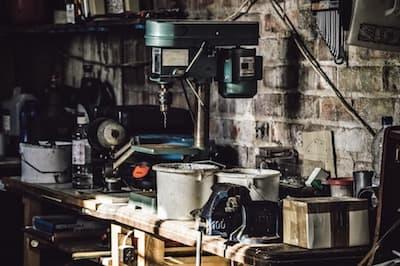 A drilling machine in a workshop